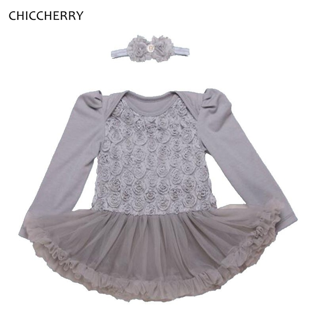 Classic Newborn Baby Girl Clothes Grey Lace Toddler Romper Dress Elegant Rose Infant  Tutus Headband Set Wedding Party Outfits