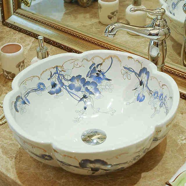 US $239.68 |Jingdezhen sanitärkeramik kunst aufsatzbecken waschbecken  becken bunten lavabo waschbecken Badezimmer waschbecken handwäschewanne in  ...
