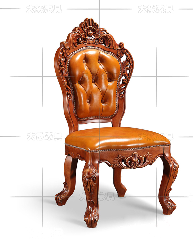 Hotels Continental antique wood dining chair mahjong chair armchair /  American desk chair leather chair- - Wooden Antique Chair Antique Furniture