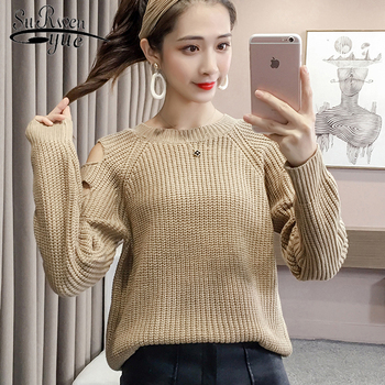 2018 autumn winter sweater long-sleeved sweater women's clothing pullover bottom off shoulder women 1298 40 фото