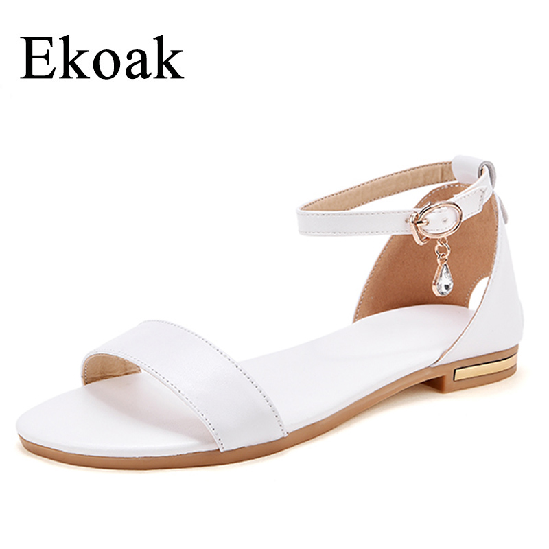 Ekoak New 2018 Genuine Leather Women Sandals Summer Women Shoes Fashion Crystal Flat Sandals Casual Beach Shoes Woman summer mother shoes woman genuine leather soft outsole open toe sandals casual flat women shoes 2018 new fashion women sandals