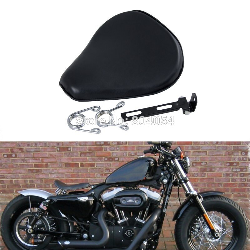 ФОТО Motorcycle  Leatheroid Solo Spring Saddle For Harley Sportster Nightster Chopper Bobber Customs