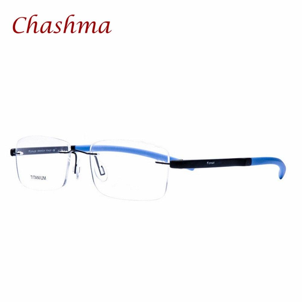 fef34eba90341d Chashma Marque Femmes et Hommes Rouge Bleu Coloré Sans Monture Cadres Titane  Matériel Lunettes