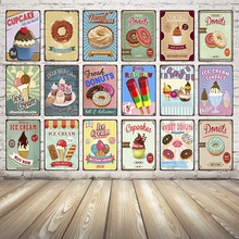 [ Kelly66 ] Cupcake Donuts Ice Cream Antique Metal Sign Drop shipping  Dy21
