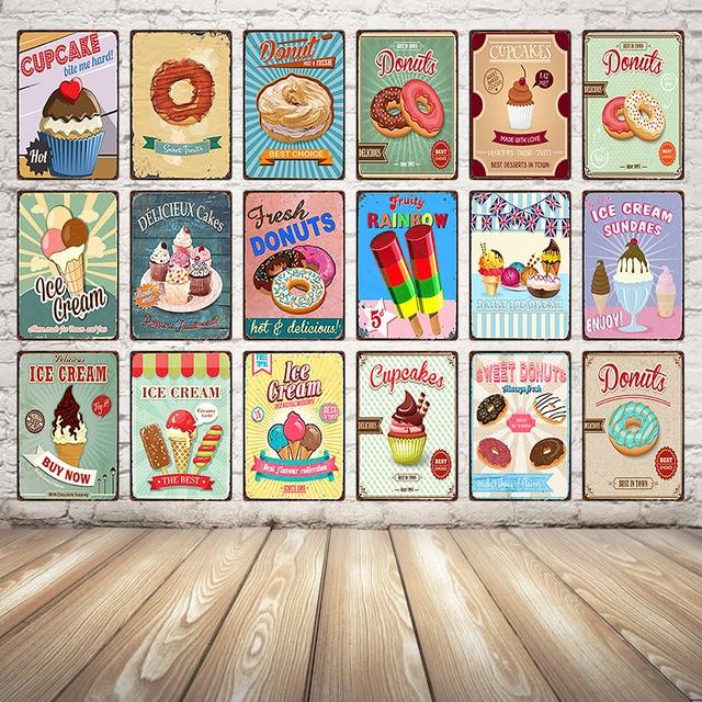 [Kelly66] Cupcake גלידת סופגניות Dy21 סימן עתיק מתכת זרוק משלוח