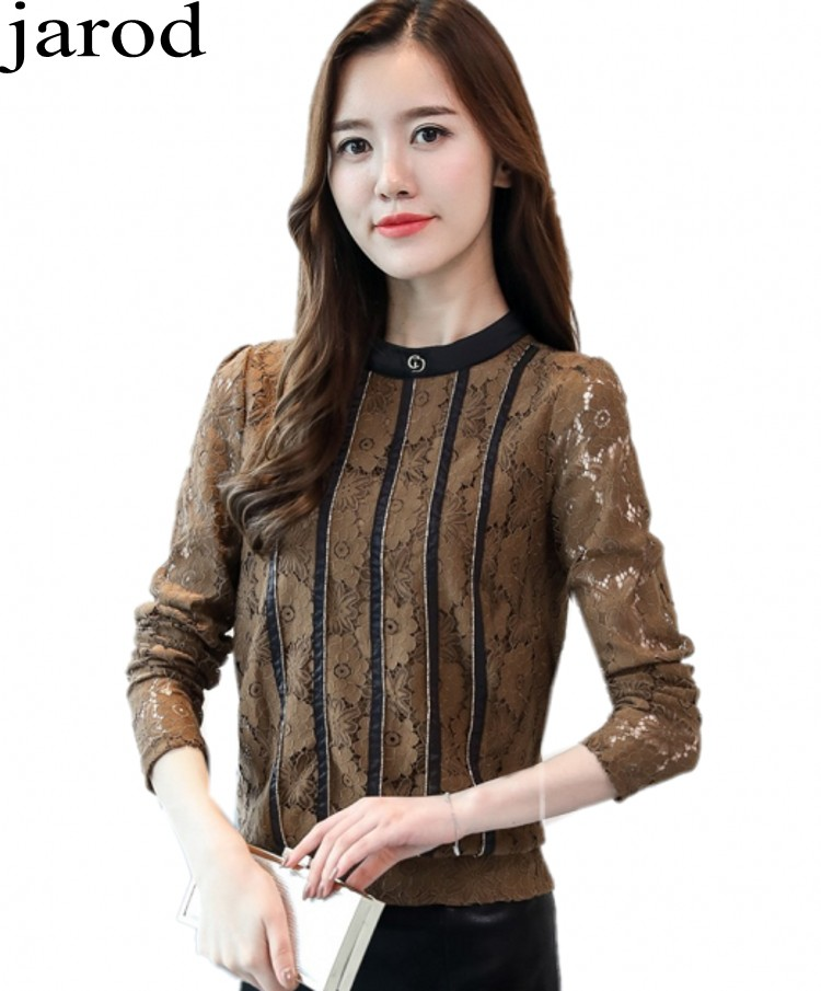 Women Vintage Long Sleeve Lace Blouse Ladies Elegant Stand Collar Floral Embroidered Crochet Lace Top Plus