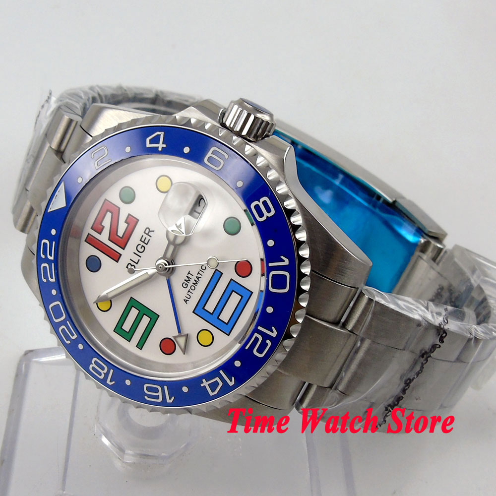 Bliger 40mm white dial date colorful marks luminous blue Ceramic Bezel GMT Automatic movement Men's watch solid bliger 40mm white sterile dial blue ceramic bezel gmt function luminous hand date clcok automatic movement men s watch b51