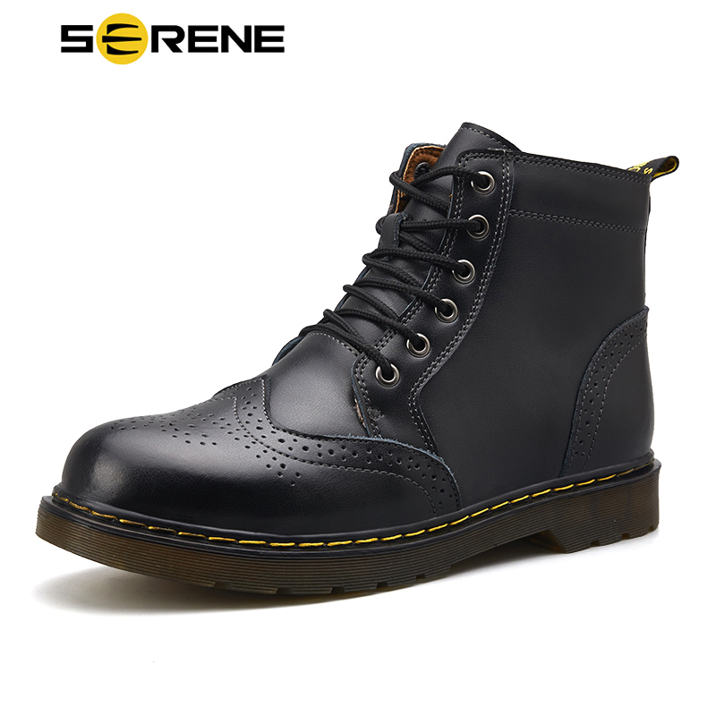 SERENE Brand Men's Boots New Big Brogue Martens Tooling Leather Winter Warm Shoes Motorcycle Mens Ankle Boot Men Oxfords Shoe