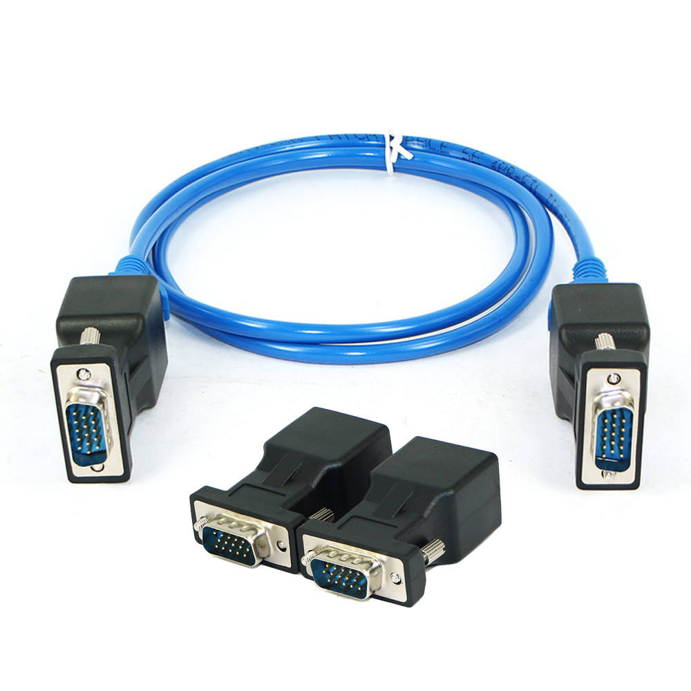 Del 1 Pair VGA Extender Male Female to LAN RJ45 CAT5 CAT6 20M Network Cable Adapter TD915 Dropship