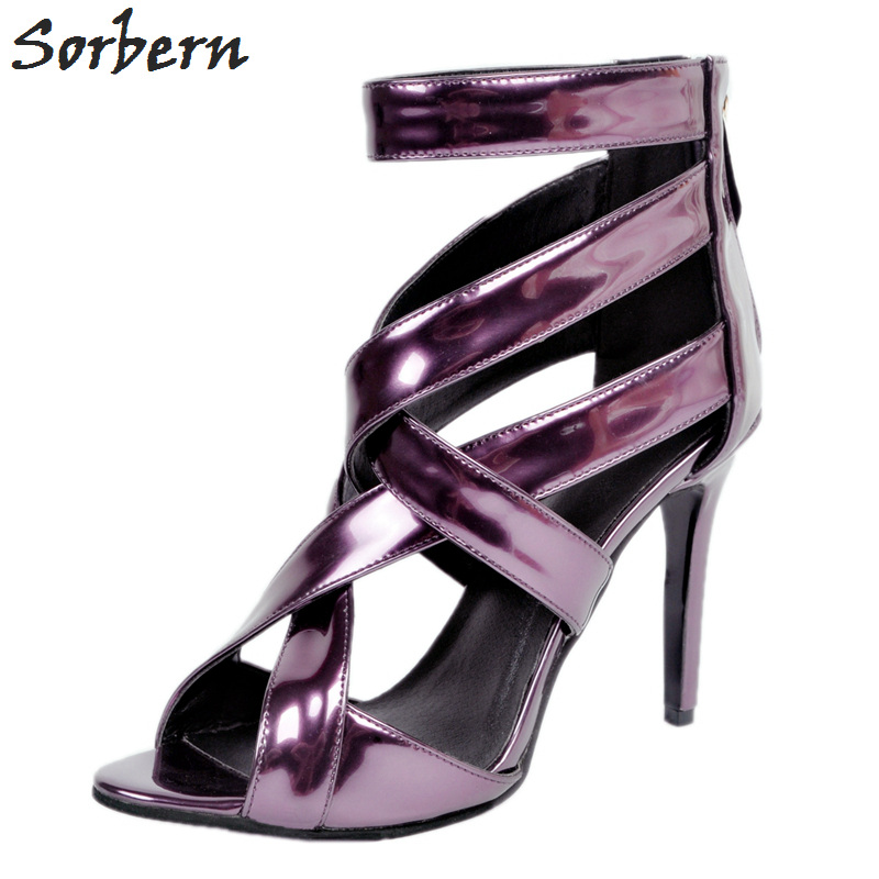 Sorbern Plus Women Sandals Deep Purple Zipper Spike Heels Sandalias Mujer 2017 Summer Shoes Women Large Size Shoes Women 43 sorbern plus women sandals deep purple zipper spike heels sandalias mujer 2017 summer shoes women large size shoes women 43