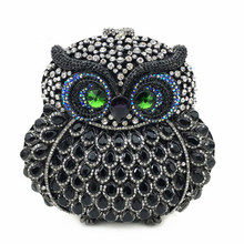 New Arrival Elegant Owl-Shaped Women Evening Bag Crystals Party Luxury Lady Evening Clutches Bags Banquet Delicate Female Bag(China)
