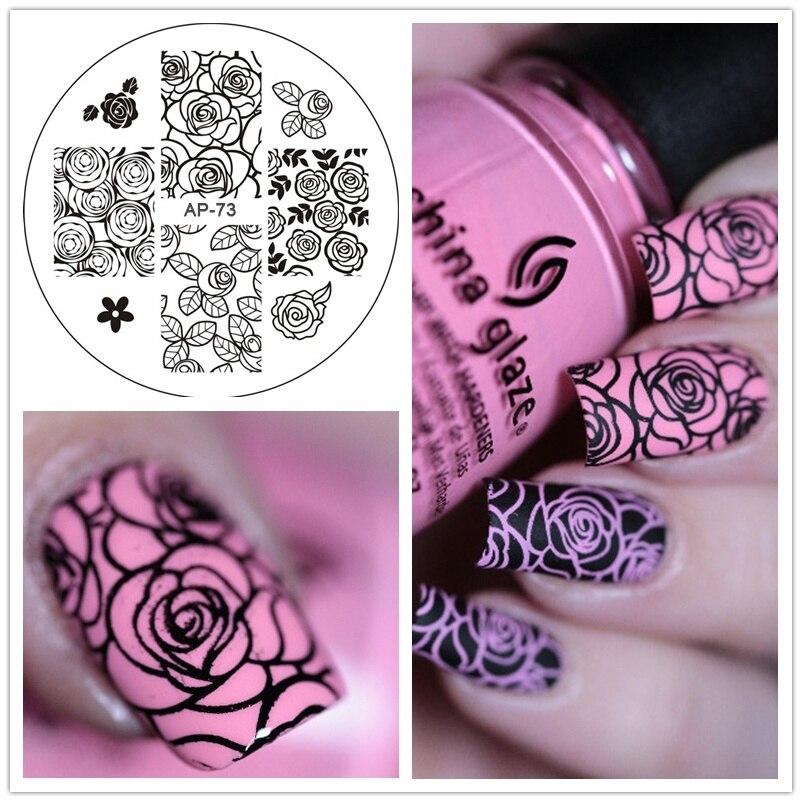 Rose Flower font b Nail b font font b Art b font Stamping Template Image Plate