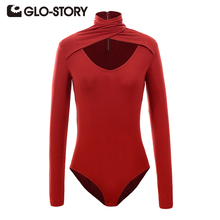 GLO-STORY Women Skinng Long Sleeve Bodysuit Jumpsuit 2017 New Deep V-Neck Sexy Solid Autumn Knitted Jumpsuits Top 4853