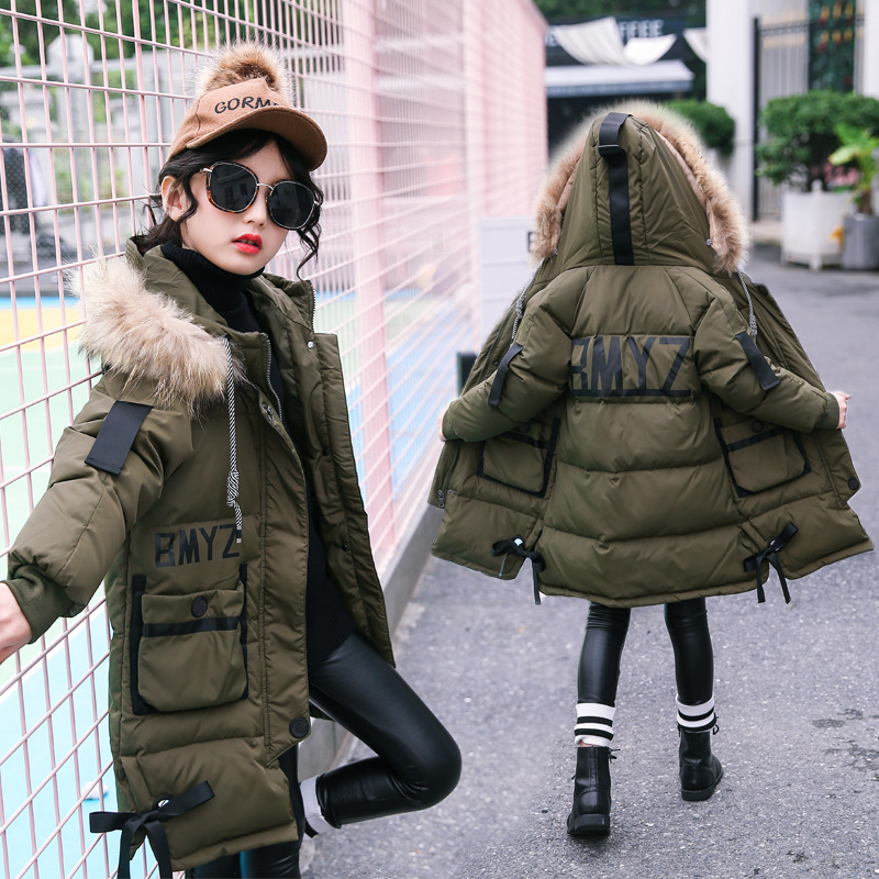 2017 Winter New Kids Girls Down Coat Fur Collar Hooded Parkas Thicken Warm Long Overcoat Letter Printed Children Outerwear fur collar hooded girls duck down jackets children long patten coat kids thick warm snowsuit parka boys letter printed overcoat