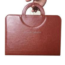 Бизнес молнии PU кожаный портфель A4 документы папку случаях менеджер мешок Tablet PC мобильный padfolio связующего