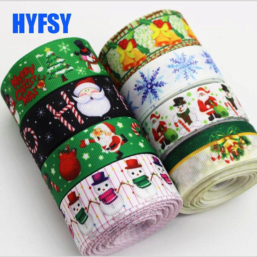 Hyfsy 10026 22 25 мм зеленый Рождественский лента 10 ярдов DIY ручной работы банты на голову с подарочной упаковке Новый год украшения тканая