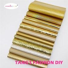 12pcs High 品質新ミックススタイルゴールドカラーミックス pu レザーセット/合成皮革セット/DIY 生地人工皮革