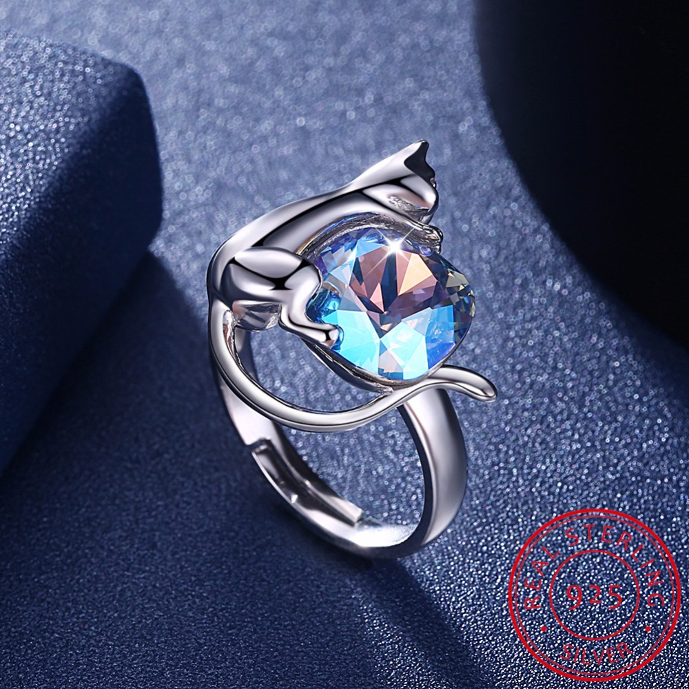 925 Sterling Silver Cat Cute Rings for Women Christmas Gift Her Finger Ring Animal Jewelry Real Pure 925 Sterling Silver SC07 edi trendy swan shape animal 100% 925 sterling silver rings for women ctue jewelry christmas gifts