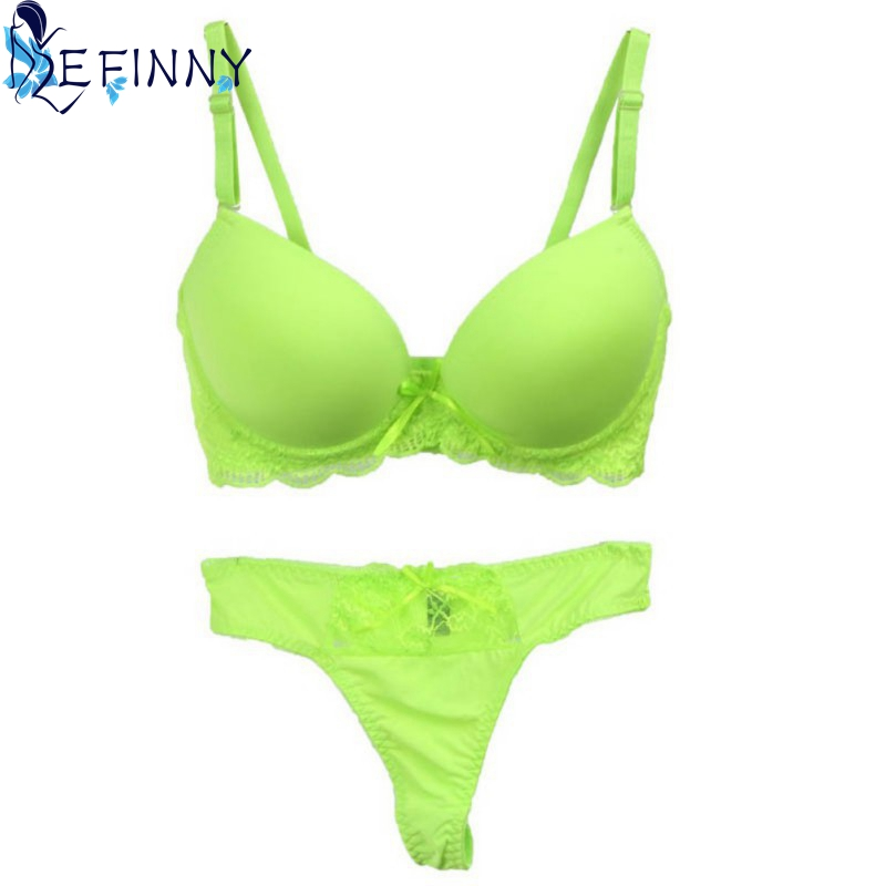 Sexy Women's Underwear Solid Vs Sexy Thong   Bra   Plus   Sets   Lingerie Suit Lace   Bra   And Female Panties Push Up 80 85 90 95B   Bra     Set