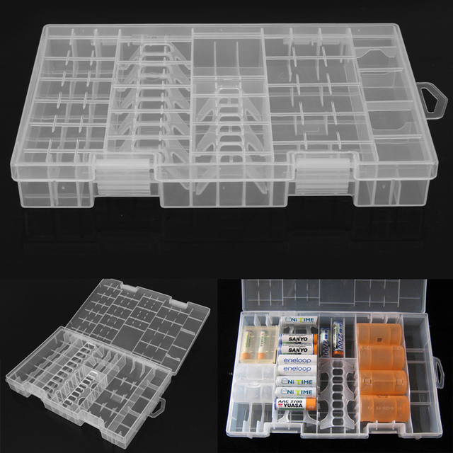 Clear Storage Box Transparent Plastic Battery Box AAA/AA/C/D/9V Hard Plastic Battery Case Holder Storage Box Battery Container