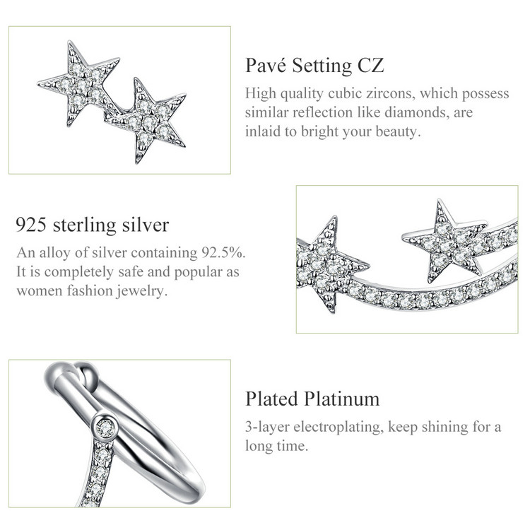 HTB1vpd0V3HqK1RjSZJnq6zNLpXaH BAMOER Star Comet Asymmetry Stud Earrings for Women Clear CZ Bright Meteor Ear Stud 925 Sterling Silver Jewelry Femme BSE087