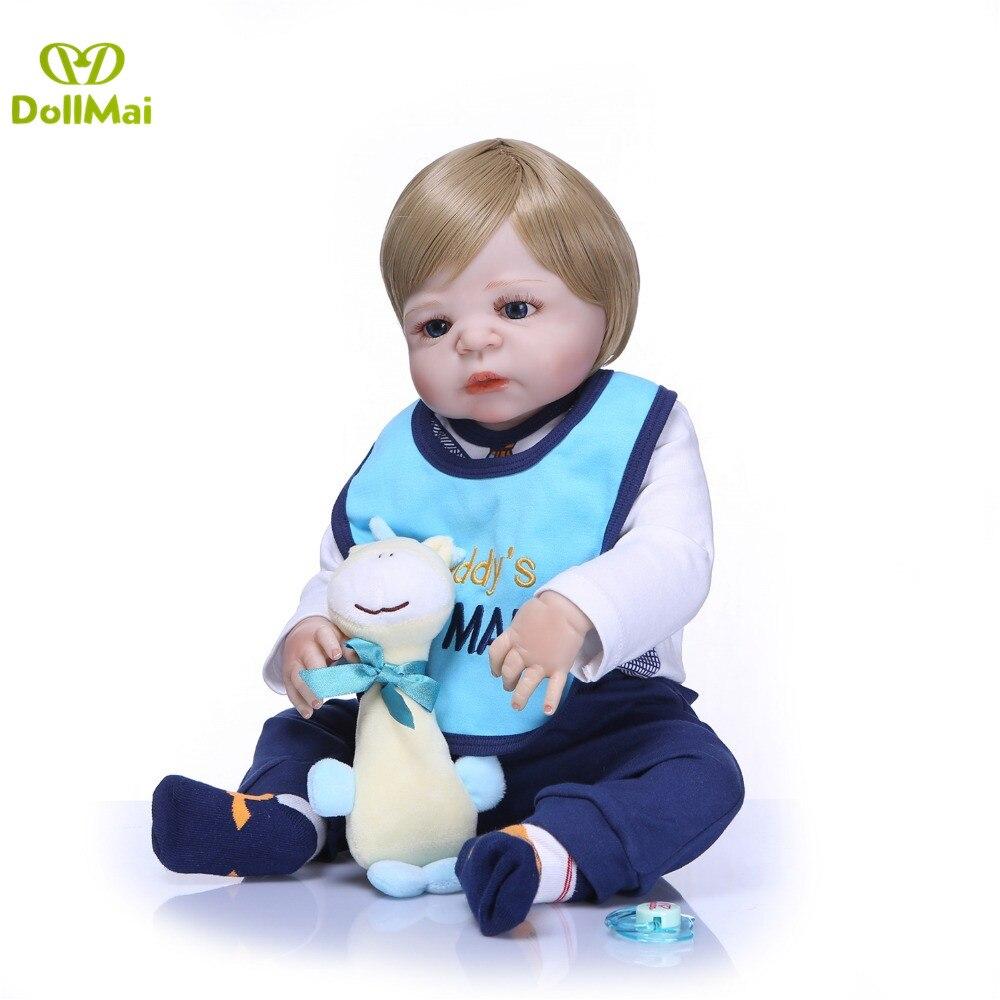 "Blond boy bebes reborn bonecas 23""57cm full body silicone reborn baby dolls toys for children gift newborn real baby dolls"