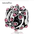 New Silver Plated Bead Charm European Vintage Oranger Blossom with Crystal Beads Fit Pandora Bracelet Bangle DIY jewelry YW15604