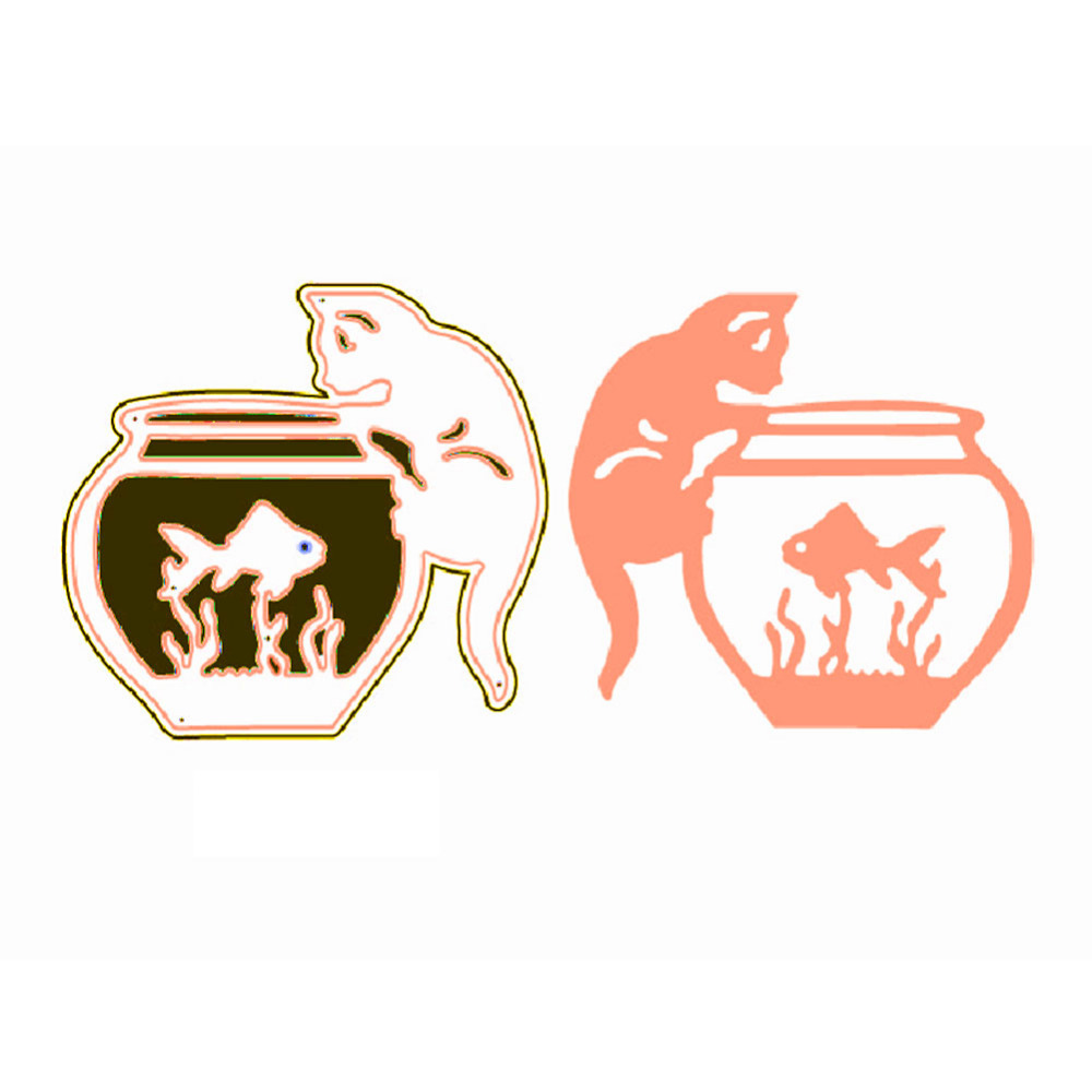 Hemere Cute Cat with Fish Tank Frame Metal Cutting Dies Stencil For DIY Invitation Card Scrapbooking Embossing Die Template