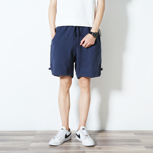 Hot sale Original Chinese Style design Men Fashion Summer Solid Color Beach Casual Cotton Quality Loose Shorts Short trousers