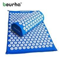Beurha Yoga Massager Mat Set Massager Pillow Lotus Spikes Acupressure Feet Relieve Stress Pain Back And