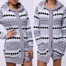 Woman Winter Geometric Print Thick Warm Hooded Long Coat Jacket Parkas Cardigan