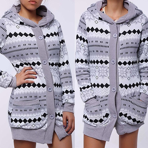 Woman Winter Geometric Print Thick Warm Hooded Long Coat font b Jacket b font Parkas Cardigan