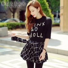 dabuwawa sweater female autumn winter black letter hitz korean fashion all-match short knitting sweater coat women pink doll