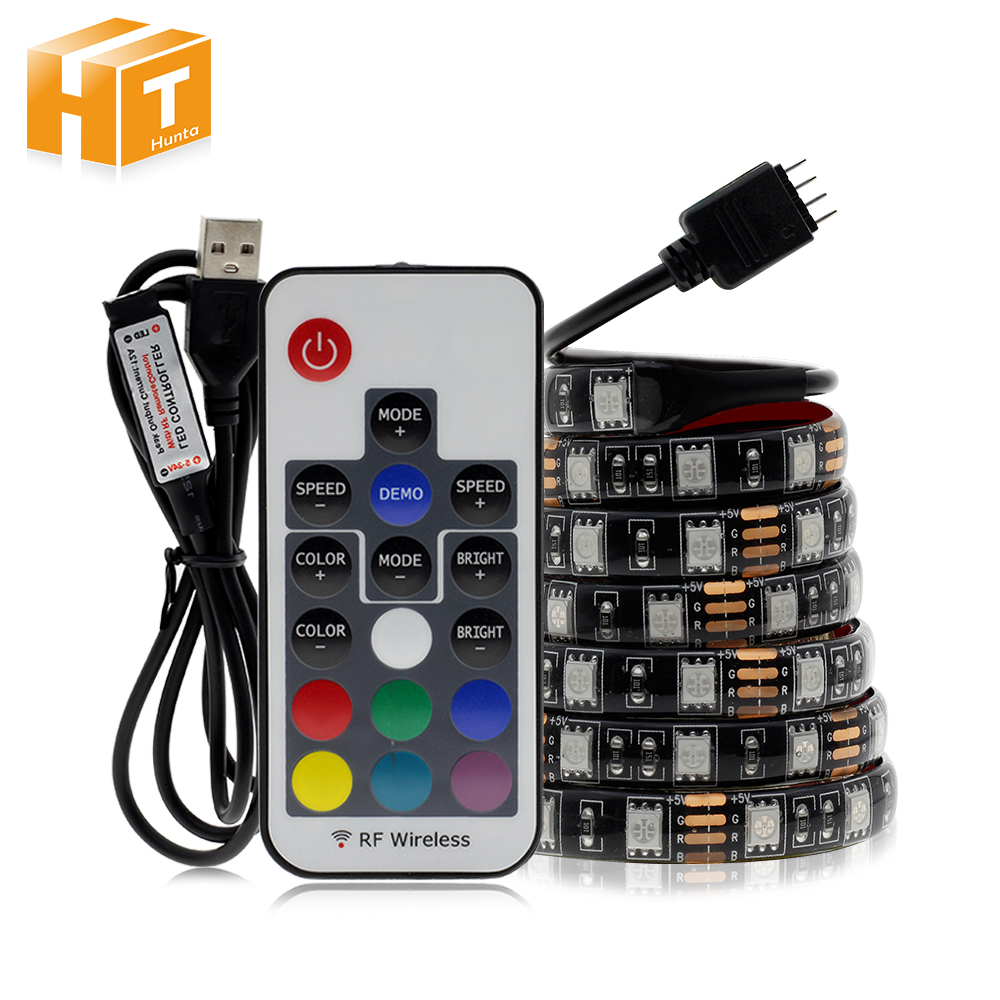 5V USB LED Strip 5050 RGB TV Background Lighting 60LEDs/m With Controller 50cm 1m 2m Set. ring 5v 16 5050 rgb led with integrated drivers module for arduino led lighting strip
