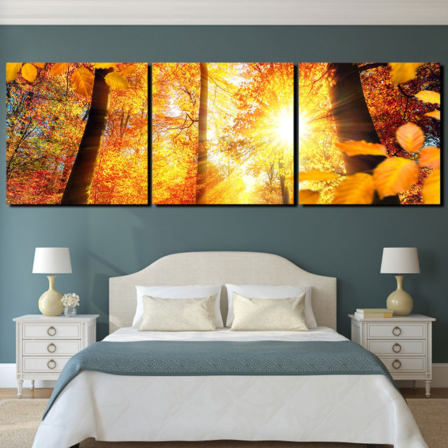Canvas Printed Wall Art Pictures Artwork 3 Pieces Autumn Sunshine ...