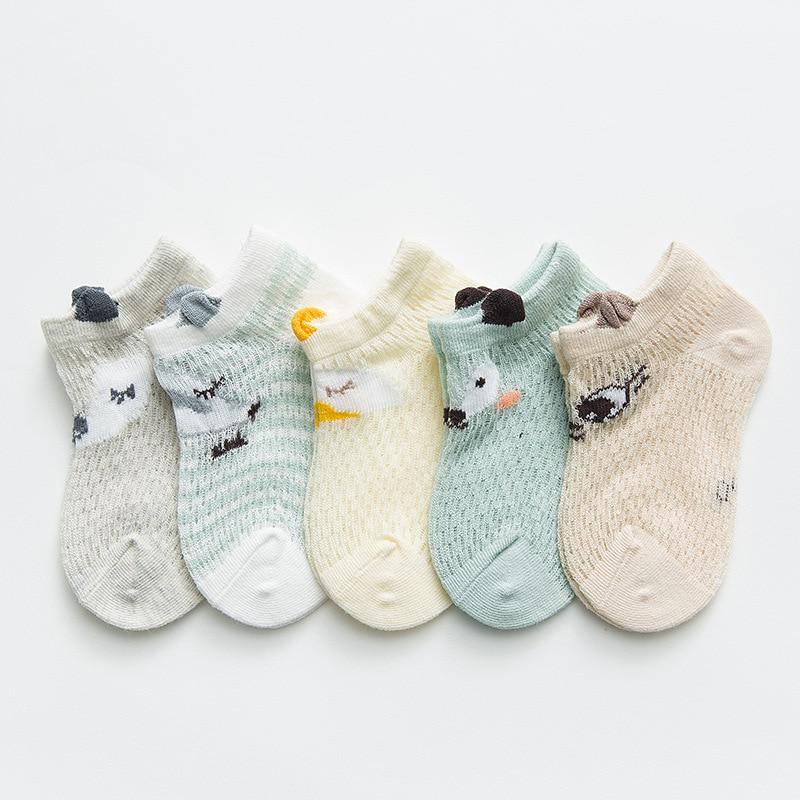 0 12Y Breathable mesh 5PCS Baby Kids Cute Cartoon Socks Newborn Infant Toddler Soft Cotton Cartoon Sock Comfortable Ankle Socks in Socks from Mother Kids