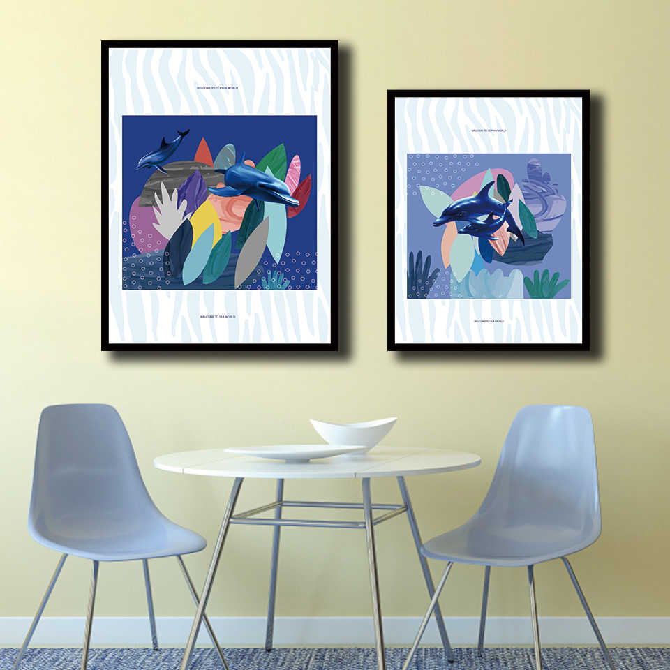 Prints Poster Nordic Watercolor Style Dolphins Pictures Wall Art Abstract Underwater World Canvas Minimalist Painting Home Decor