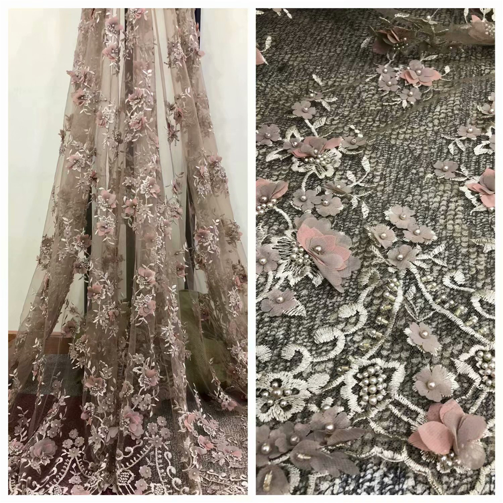 African Embroidered Lace Fabric 2018 Nigerian Beaded Lace Fabric 3D Lace Fabric Feather For Wedding W029