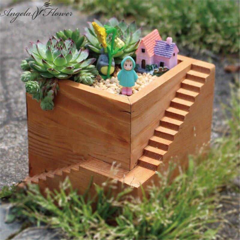 Succulent plants wood square step flowerpot DIY cactus