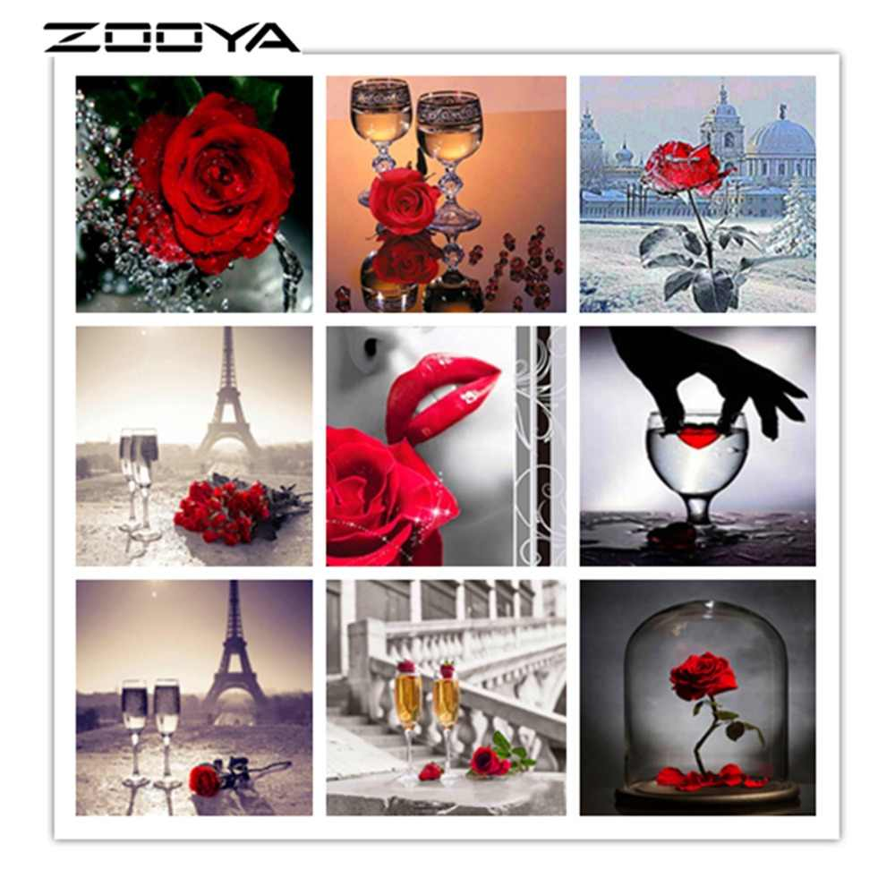 ZOOYA алмазная живопись полная круглая Алмазная вышивка розы цветы DIY наборы