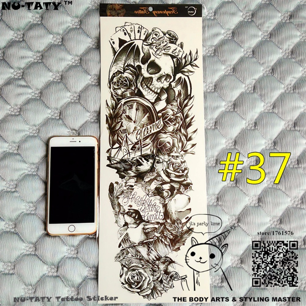 Nu-TATY Life Is A Game Full Sleeve Temporary Body Art, 48*17cm Flash Tattoo Stickers, Waterproof Tato Adult Sex Products Henna