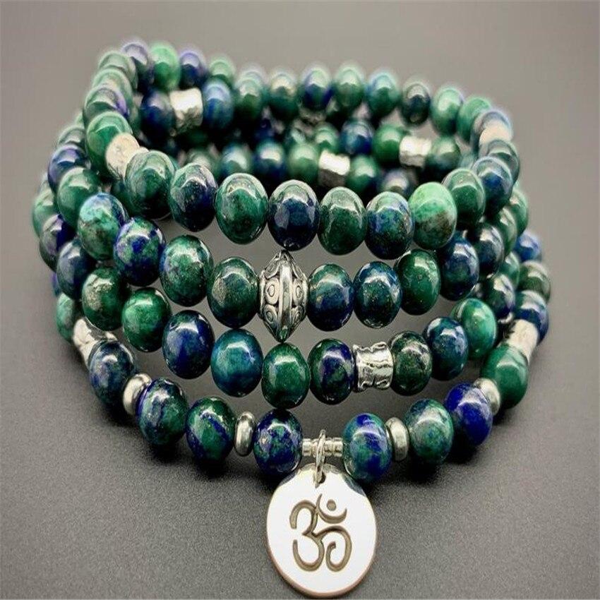 1pcs Light Blue Chalcedony Gemstone bracelet Healing cuff pray Wrist Chakas