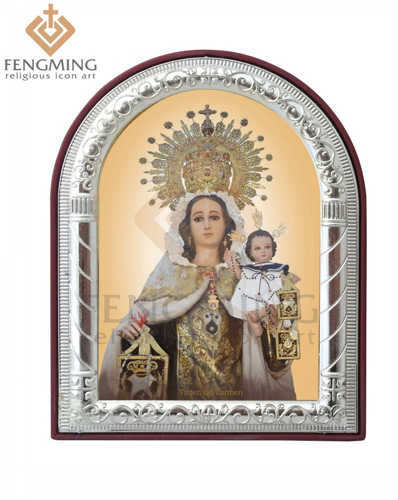 can custom christian religious catholic image virgen del carmen wholesale metal frame silver gold on plastic