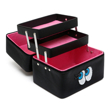 Korean Women Cosmetic Bag Professional Large Capacity Makeup Box Lovely Eyes with Compartment Portable Waterproof Cosmetics Bag waterproof cloth cosmetic bag professional makeup large capacity double box shoulder dressing cosmetics makeup box