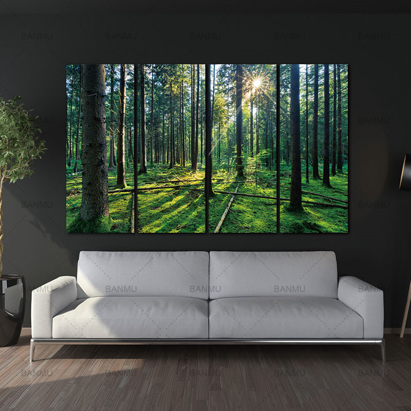 four Panel Forest and Dawn SunliXWAt Oil Portray Inexperienced Tree Woods Canvas Print Trendy Wall Artwork House Ornament House Decor residence decor commerce present, adorned mannequin properties, ornamental residence...