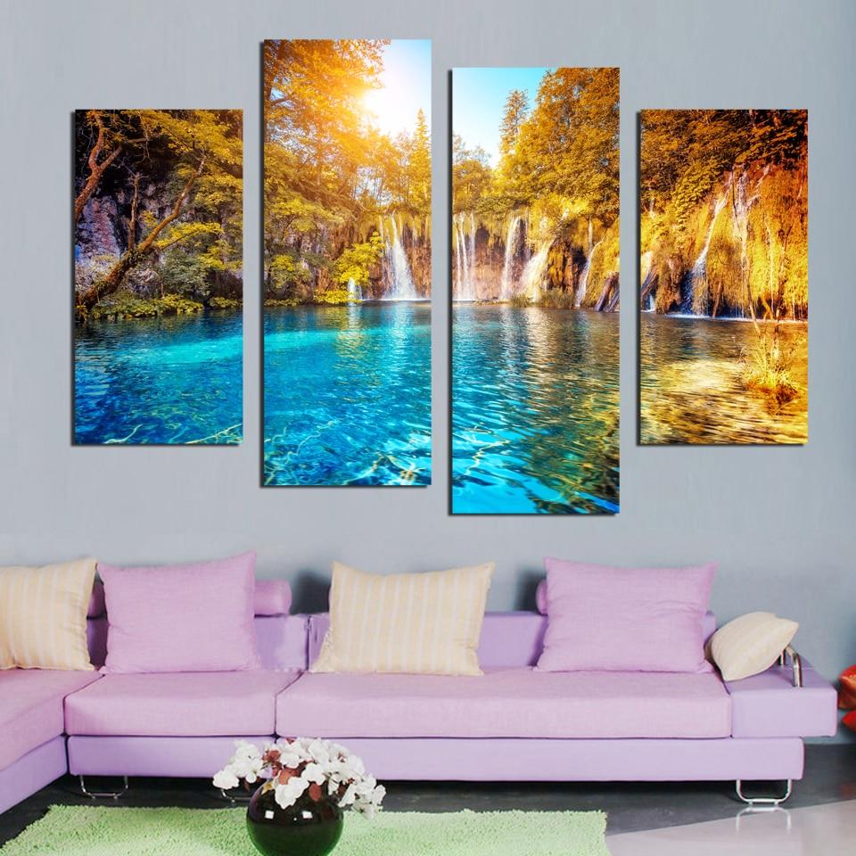 Kanvas 4 Panel Dinding Seni Lukisan Kanvas Lukisan Pemandangan Air