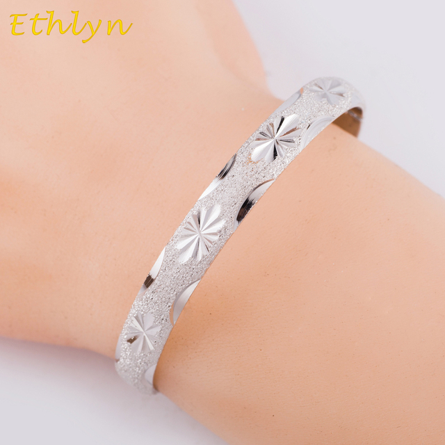 Ethlyn Dubai Bracelets Bangles Width 8mm White Gold Color Jewelry Ethiopian Snap Buckle Bracelet African
