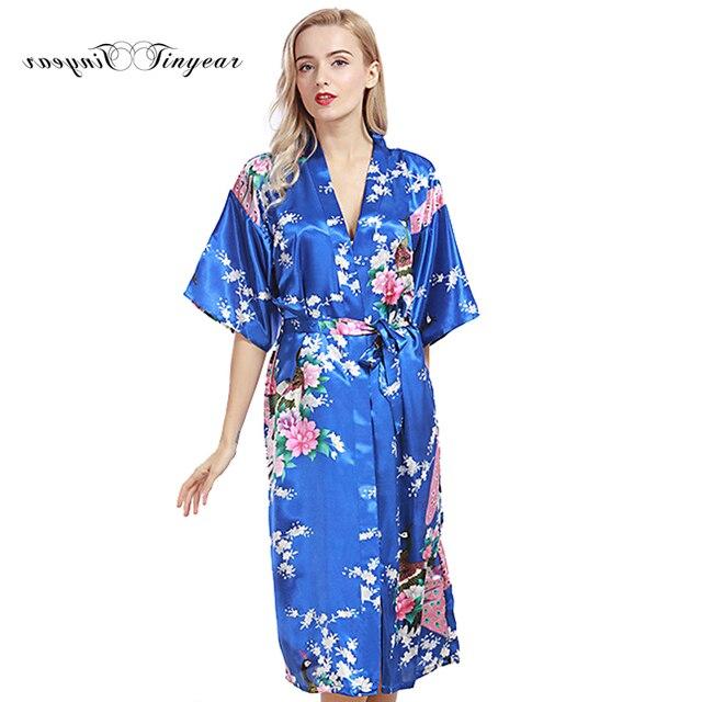 73c40546eb827 Tinyear Femmes 2017 Marque Nouvelle Longue Robe Dames Faux Soie Floral  D'été Peignoir Mince