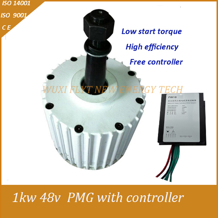 HOT SALE!! 1000W AC24V/48V 3 Phase AC Low rpm Permanent Magnet Alternator, Max Power 1500W Generators for Wind Turbine