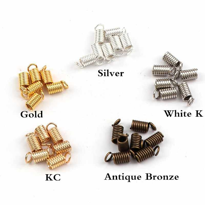 7x3mm Spring Crimp Ends Fastener Coil Cord Crimps End Caps Clasps Extension DIY Necklace Connectors Jewelry Findings